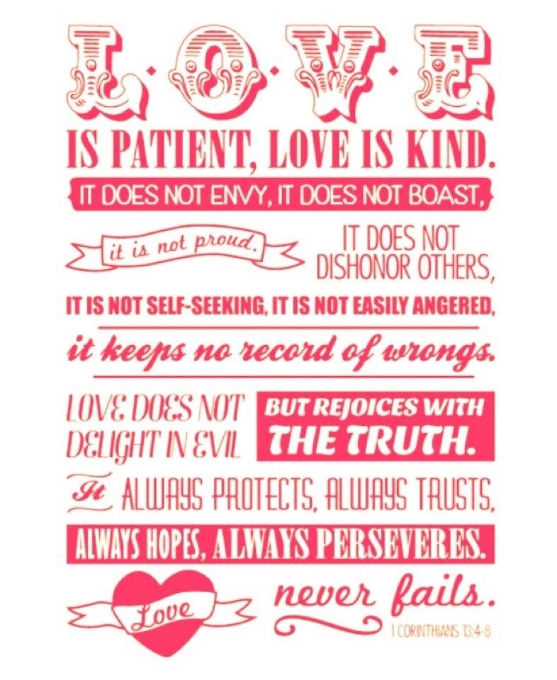 """comments on """" Love is patient. Love is kind. 1 Corinthians 13 """""""